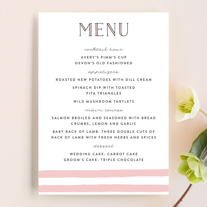 """Darling Day Paris"" - Destination, Modern Menu Cards in Blush by Pistols."