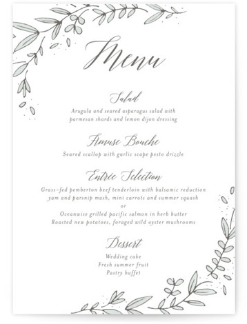 This is a portrait botanical, white Menus by Kelly Schmidt called Floral Wreath with Standard printing on Signature in Classic Flat Card format. Give guests a sneak peek of the meal to come with these unique menus. All menus can ...