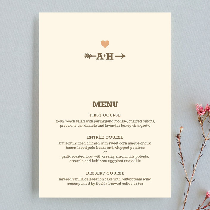 """""""Love Struck"""" - Rustic, Simple Menu Cards in Pale Salmon Peach by The Social Type."""