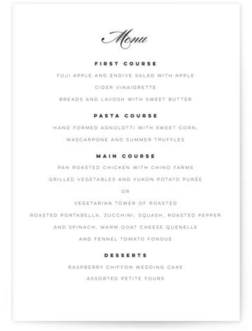 This is a portrait bold and typographic, classic and formal, simple and minimalist, black and white, black Menus by Lori Wemple called Waltz with Standard printing on Signature in Classic Flat Card format. Give guests a sneak peek of the ...