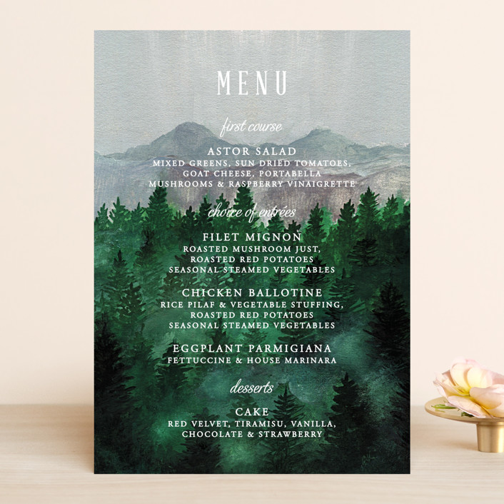 """""""Adventure Awaits"""" - Rustic, Destination Menu Cards in Smoke by Elly."""