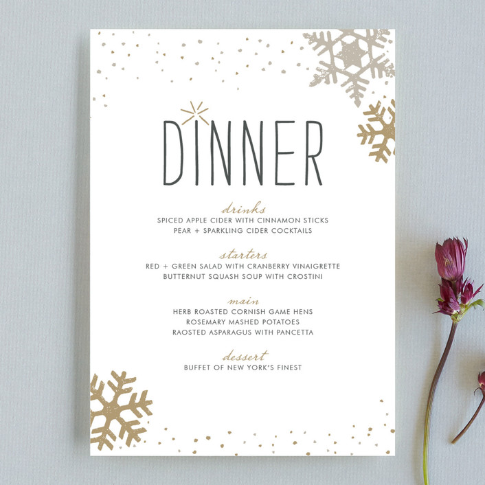 """""""Silver and Gold"""" - Modern, Rustic/Craft Menu Cards in Gold by Jody Wody."""
