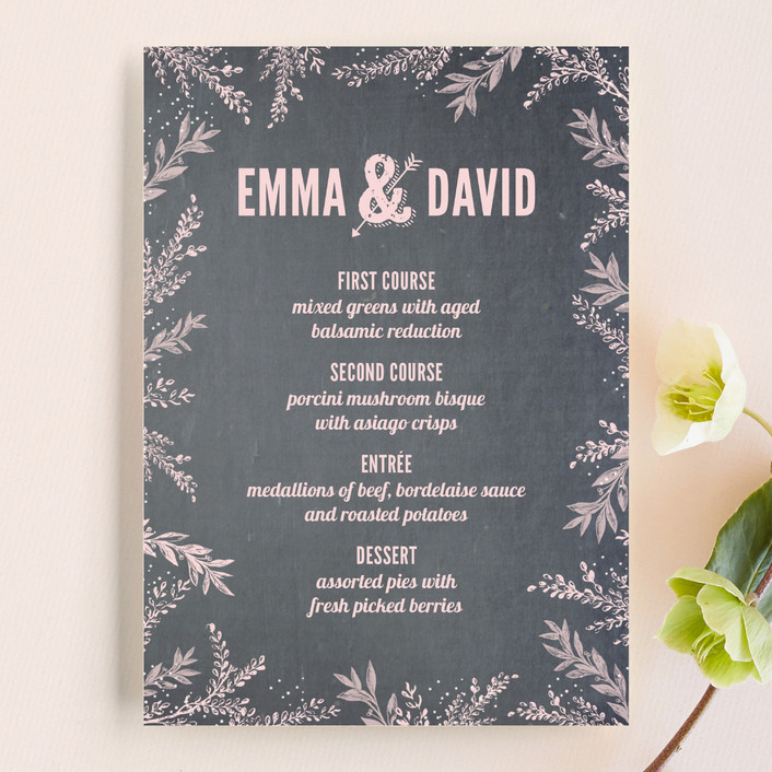 """""""Woodland Romance"""" - Rustic Menu Cards in Blush by cadence paige design."""
