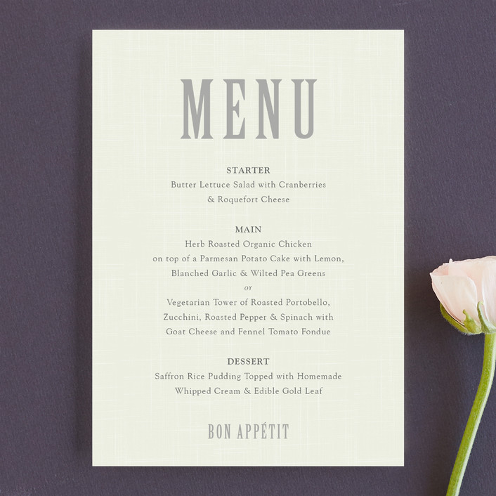 """""""Crosshatch"""" - Modern, Bold typographic Menu Cards in Classic by Stacey Hill."""