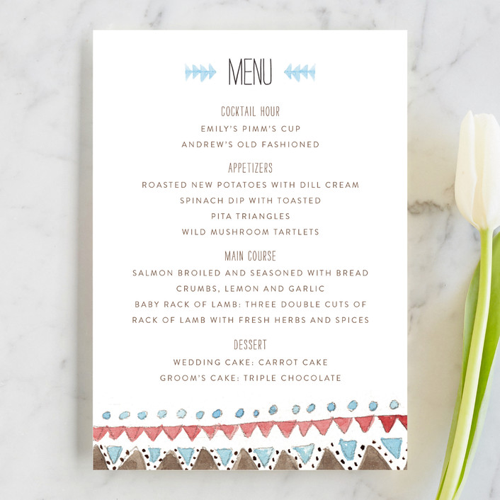 """""""Dream Catcher"""" - Whimsical & Funny, Rustic Menu Cards in Dusty Blue by Pistols."""