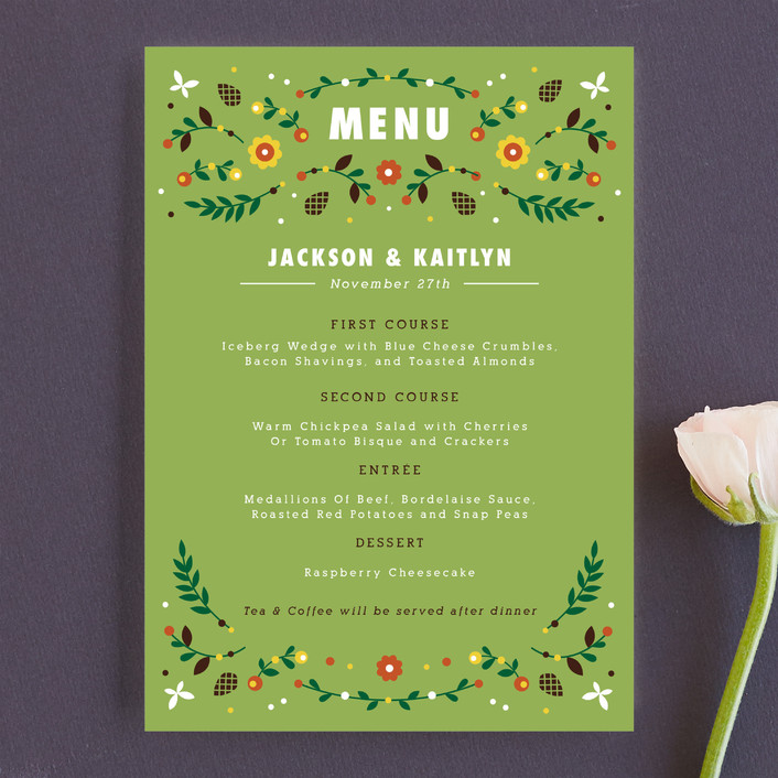 """Woodland"" - Rustic, Floral & Botanical Menu Cards in Grass by Kristen Smith."
