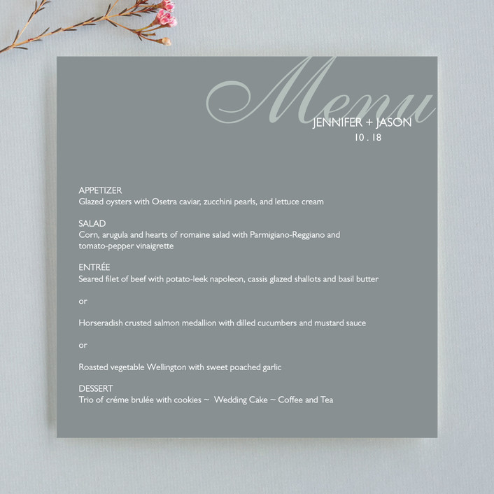 """Modern & Chic"" - Preppy Menu Cards in Slate by Posh Peacock."