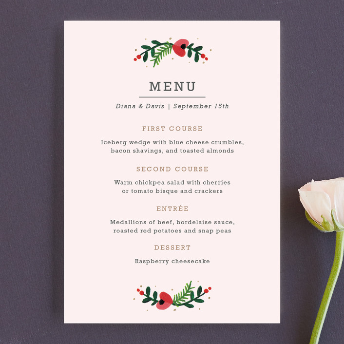 """Simple Flora"" - Floral & Botanical Menu Cards in Powder Pink by Kristen Smith."