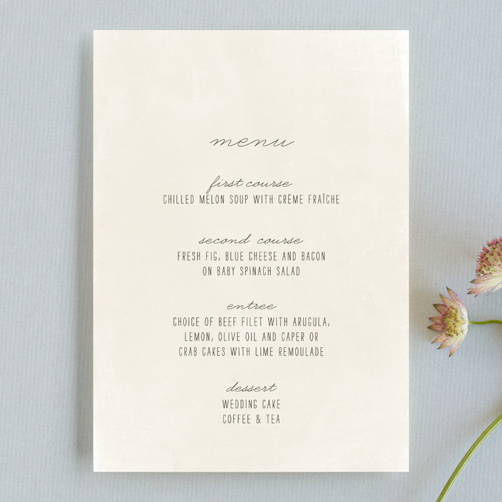 """""""Moment in Time"""" - Vintage Menu Cards in Linen by The Social Type."""