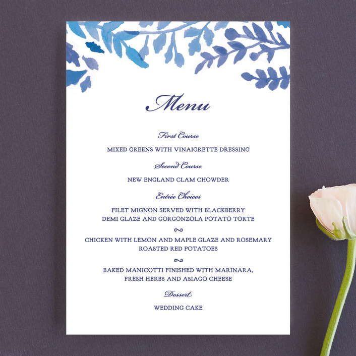 """China Plate"" - Floral & Botanical Menu Cards in Royal Blue by Ariel Rutland."