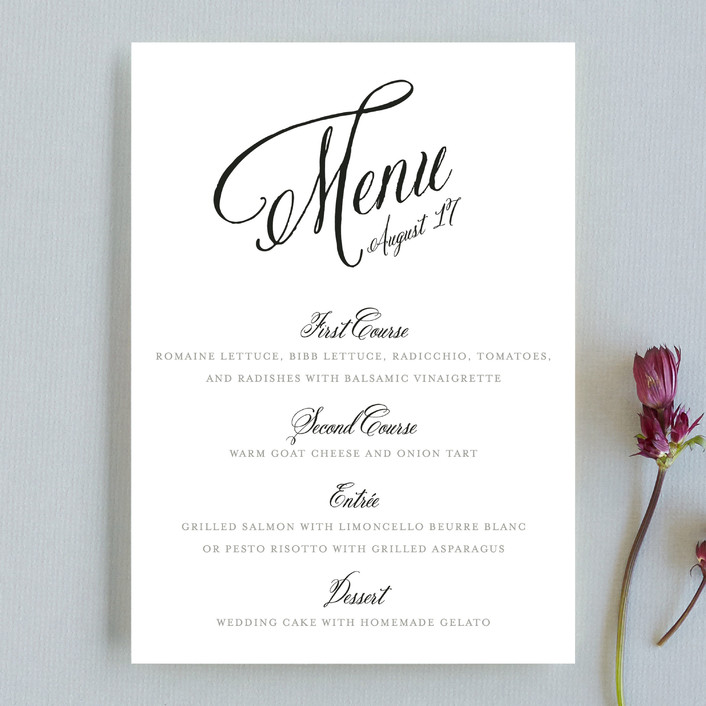 """Traditional Royalty"" - Bold typographic, Elegant Menu Cards in Midnight by two thirteen studio."