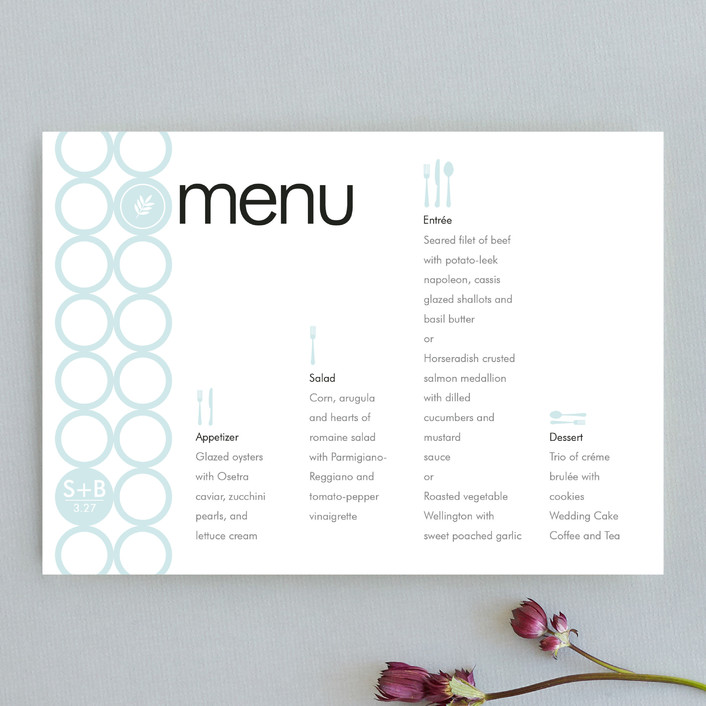 """mod"" - Modern Menu Cards in Frost by papermoon."