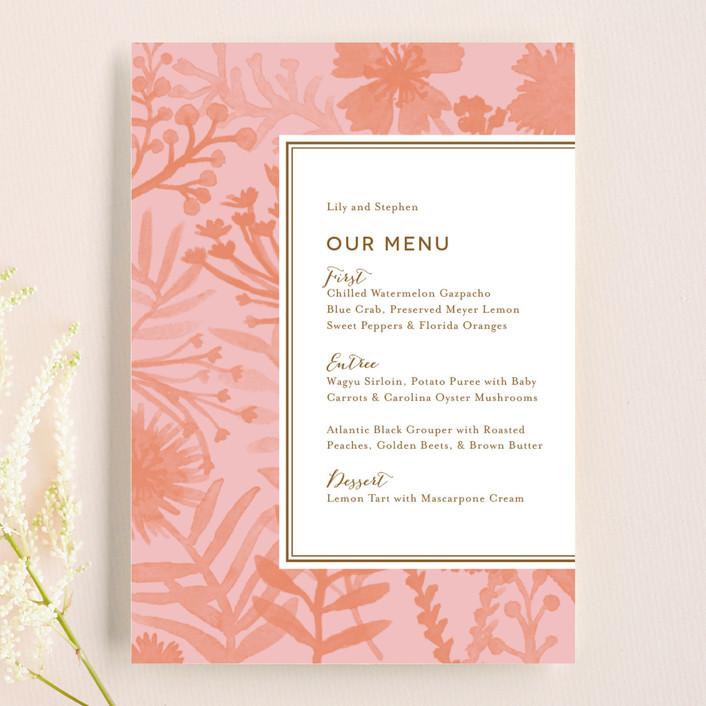 """Sundance Wildflowers"" - Bohemian, Floral & Botanical Menu Cards in Peony by j.bartyn."