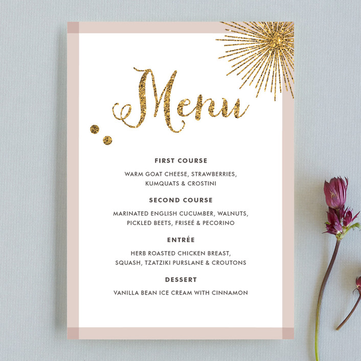 Holiday Bling Menu Cards by Carrie ONeal | Minted