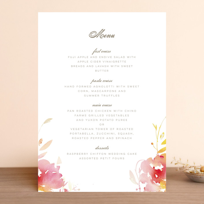 """Stately Florals"" - Menu Cards in Poppy by Lori Wemple."