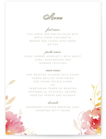 This is a portrait botanical, painterly, pink Menus by Lori Wemple called Stately Florals with Standard printing on Signature in Classic Flat Card format. Give guests a sneak peek of the meal to come with these unique menus. All menus ...