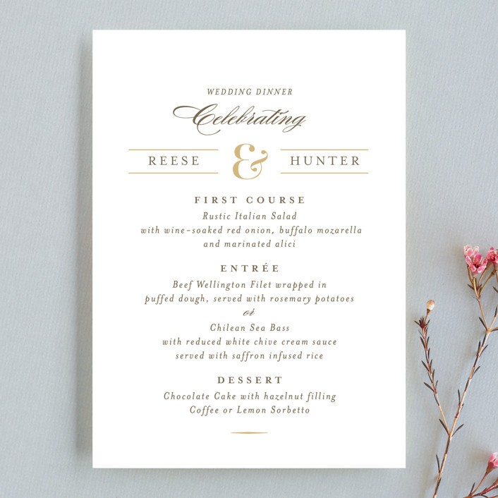 """Valencay"" - Elegant, Classical Menu Cards in Silk by chocomocacino."
