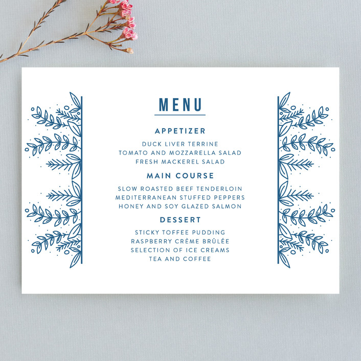"""Botanical"" - Menu Cards in Cobalt by Bethan."