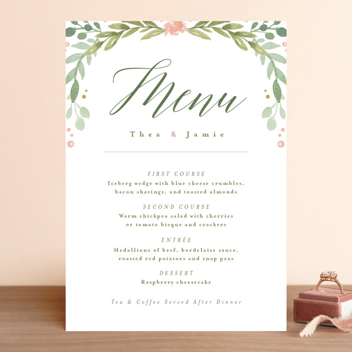 """""""Garden Glamour"""" - Floral & Botanical, Rustic Menu Cards in Sage by Kristen Smith."""