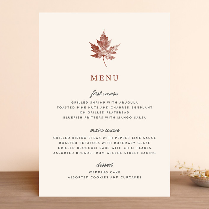 """Leaf Print"" - Rustic, Simple Menu Cards in Rust by Katharine Watson."