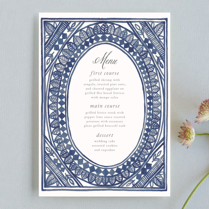 """Ornate Watercolor Frame"" - Bohemian Menu Cards in Lapis by Katharine Watson."