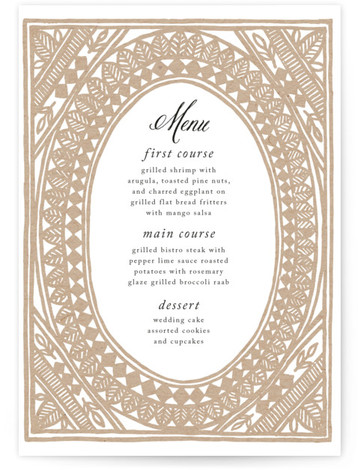 This is a portrait bohemian, brown Menus by Katharine Watson called Ornate Watercolor Frame with Standard printing on Signature in Classic Flat Card format. Give guests a sneak peek of the meal to come with these unique menus. All menus ...