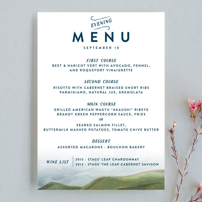 """Rolling Hills"" - Bold typographic, Destination Menu Cards in Meadow by Shiny Penny Studio."