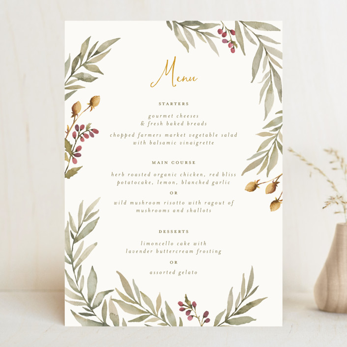 """""""Summer Love"""" - Rustic Menu Cards in Sunflower by Wildfield Paper Co.."""