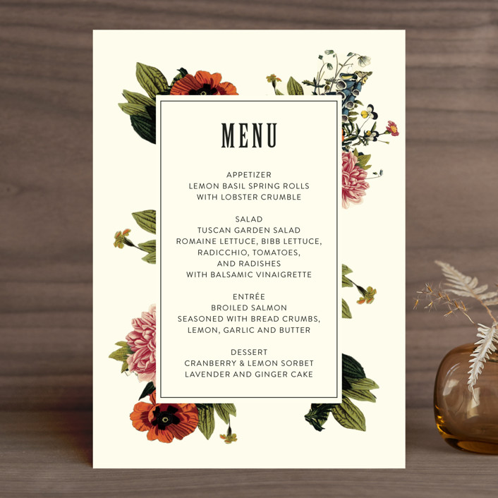 Vintage Garden Invite Menu Cards By Alisa Wismer Minted