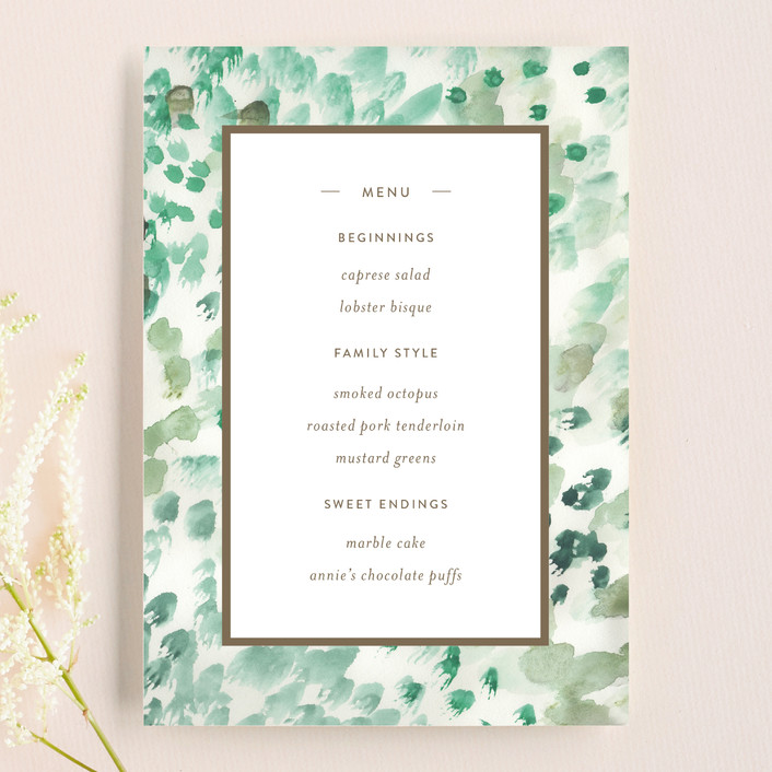 """Painted"" - Menu Cards in Sea Glass by Sara Hicks Malone."