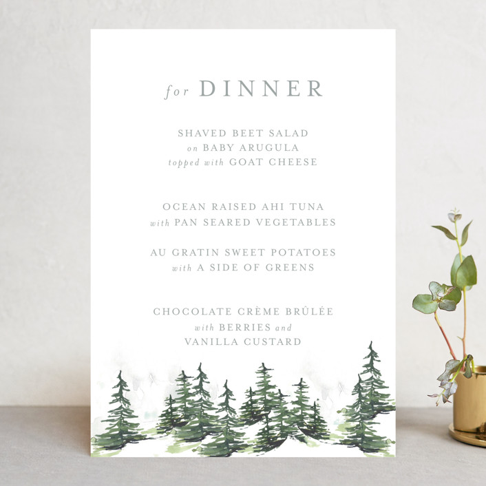 """""""On the Slopes"""" - Rustic Menu Cards in Fog by Mere Paper."""