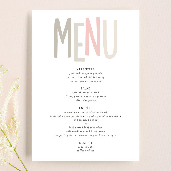 """Love Lettered"" - Bold typographic, Whimsical & Funny Menu Cards in Blush by Robin Ott."