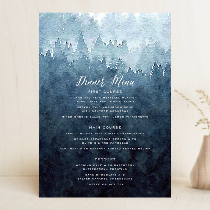 """Mountain Retreat"" - Rustic Menu Cards in Evening Sky by Design Lotus."