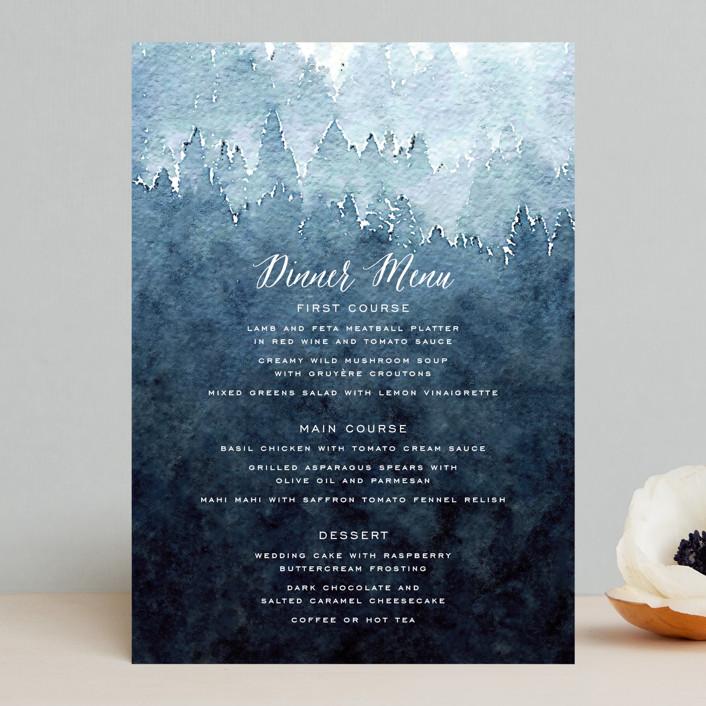 """Mountain Retreat"" - Rustic Menu Cards in Evening Sky by Design Lotus."
