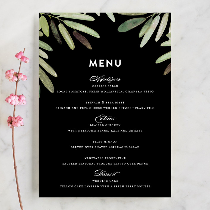 """Parting Branches"" - Menu Cards in Midnight by Haley Warner."