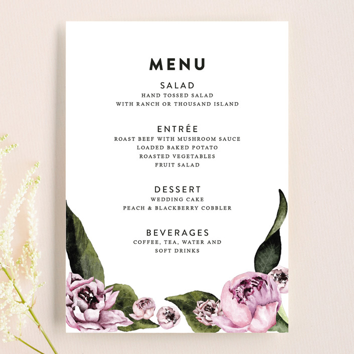 """Peony"" - Floral & Botanical Menu Cards in Ice Mist by Cass Loh."
