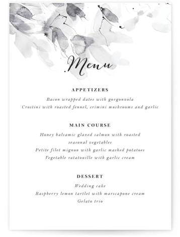 This is a portrait botanical, painterly, ivory, black and white, grey Menus by Kelly Ventura called Petale with Standard printing on Signature in Classic Flat Card format. Give guests a sneak peek of the meal to come with these unique ...
