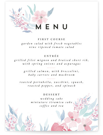 This is a portrait floral, pink Menus by Qing Ji called Poetic Watercolor Flowers with Standard printing on Signature in Classic Flat Card format. Give guests a sneak peek of the meal to come with these unique menus. All menus ...