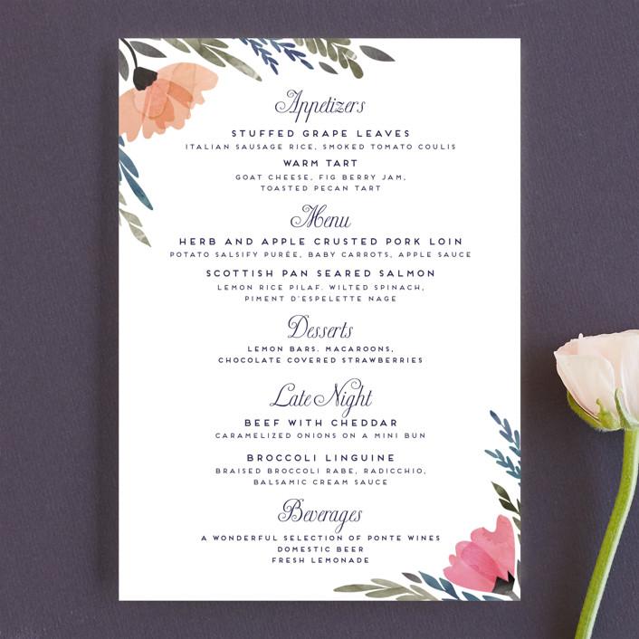 """Romantic Watercolor Flora"" - Floral & Botanical Menu Cards in Dhalia by Petra Kern."