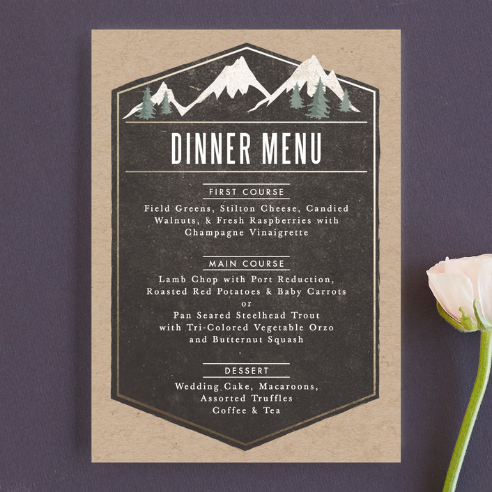 """Rustic Mountain"" - Rustic, Destination Menu Cards in Charcoal by Karidy Walker."