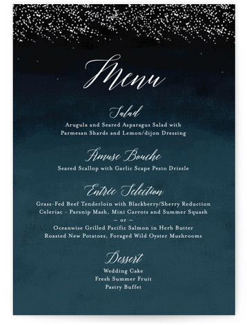 This is a portrait modern, rustic, simple, whimsical, blue Menus by Kelly Schmidt called Shimmering Trees with Standard printing on Signature in Classic Flat Card format. Give guests a sneak peek of the meal to come with these unique menus. ...