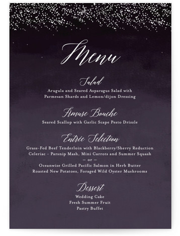 This is a portrait modern, rustic, simple, whimsical, purple Menus by Kelly Schmidt called Shimmering Trees with Standard printing on Signature in Classic Flat Card format. Give guests a sneak peek of the meal to come with these unique menus. ...
