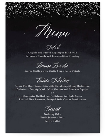 This is a portrait modern, rustic, simple, whimsical, black Menus by Kelly Schmidt called Shimmering Trees with Standard printing on Signature in Classic Flat Card format. Give guests a sneak peek of the meal to come with these unique menus. ...