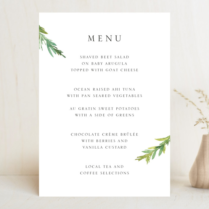 """Simple Pine Branches"" - Menu Cards in Vanilla by Mere Paper."