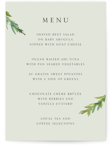 This is a portrait botanical, illustrative, rustic, simple and minimalist, green Menus by Mere Paper called Simple Pine Branches with Standard printing on Signature in Classic Flat Card format. Give guests a sneak peek of the meal to come with ...