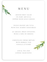 This is a white menu card by Mere Paper called Simple Pine Branches with standard printing on signature in standard.