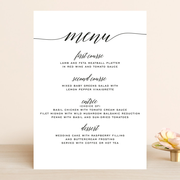 """Someone Like You"" - Menu Cards in Tuxedo by Design Lotus."