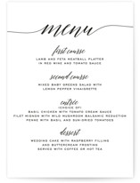 This is a black and white menu card by Design Lotus called Someone Like You with standard printing on signature in standard.