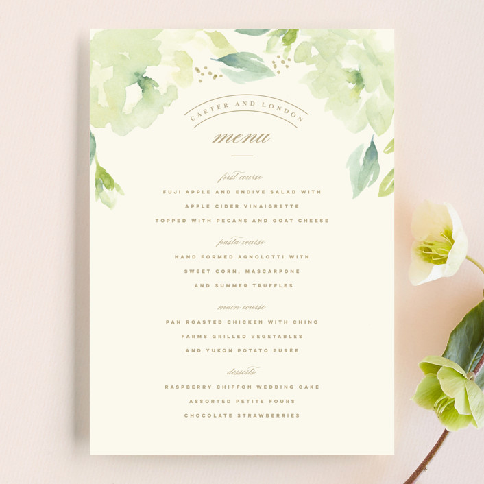 """Southern Garden"" - Menu Cards in Moss by Lori Wemple."