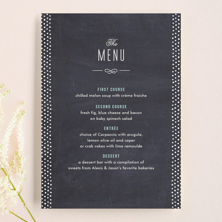 """Alford Park"" - Modern, Vintage Menu Cards in Chalkboard by Jennifer Wick."